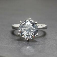4.91ctw Diamond Cut White Sapphire Sterling Silver Ring Size 7.75