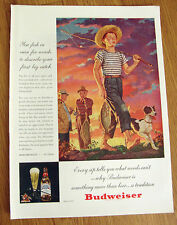 1946 Budweiser Beer Ad You Fish in Vain for Words to Describe Your 1st Big Catch