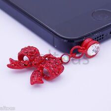 ANTI DUST PLUG CHARM DIAMOND BOW TIE FOR APPLE SAMSUNG HTC MOTOROLA HUAWEI ZTE