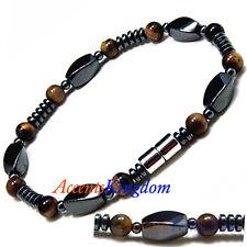 "Accents Kingdom Men's Magnetic Hematite Tiger's Eye Bead Bracelet 8.5"""