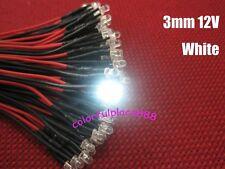 100pcs, 3mm White Water Clear 9V 12V DC Round Pre-Wired LED Leds Light 20CM New