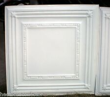SALE Vintage Ceiling Tin Tile Elegant Fleur De Li Beaded Frame Canvas Chic