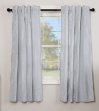 SAWYER MILL BLUE Ticking Stripe Short Panel Set Farmhouse Country Curtain Lined