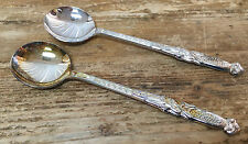 2 Long Round Soup Gumbo Spoons Chrome EPNS Silverplate Greek Key Flower Maker ?