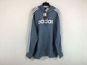Men's Adidas Essentials 3 Stripe Pullover Fleece Logo Hoodie, Size 2XL - Blue