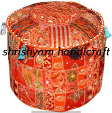 Patchwork Pouf Ottoman Cover Indian Vintage Embroidered Bohemian Seating Stool