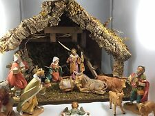 lot 13 piece fontanini nativity set5 inch wwooden stable