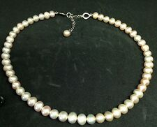 925 Sterling Silver Freshwater Pearl Necklace - 17.25 inches Seller ref 17