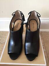 New Michael Kors Jennings Peep-toe Bootie Stiletto Heeled Ankle Boots Black 7.5