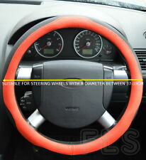 UNIVERSAL FAUX LEATHER BLACK/RED STEERING WHEEL COVER JD005-REDBLK  JEP