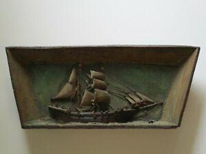 ANTIQUE RARE NAUTICAL SHIP DIORAMA  WOOD CARVING 19TH CENTURY SCULPTURE PAINTING