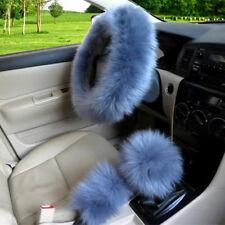 3 Pcs Grey Blue Fluffy Long Wool Car Steering Wheel Shifter Parking Brake Covers
