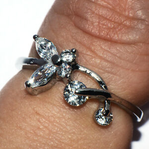 White Gold Filled Silver Crystal Flower Ring for Womens Female Rings Size 7