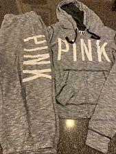 Victoria's Secret Pink Black Gray Marled Zip  Sweatshirt Sweatpants Set Large