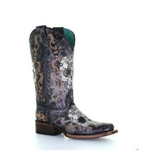 Corral Ladies White Floral Skull & Studs Black Leather Boots Z5005