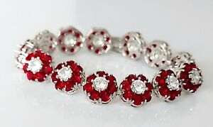 """Beautiful Gold Plated & Sparkling Ruby Paste Crystal Tennis Link Bracelet 7"""""""