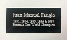 Juan Manuel Fangio - 110x50mm Engraved Plaque for Signed Formula One Memorabilia