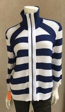 NWT Rabe Woman Zip front Top Sweater SZ 8 US SZ 38 EU Striped Navy White