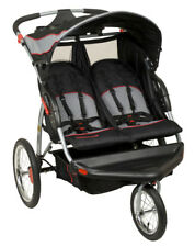 Double Jogger Stroller Two Seats Pneumatic Bicycle Tires 5 Point Harness System