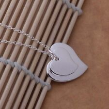 Fashion Jewelry 925 Sterling Silver Filled Necklace Fine Heart Pendant Female 45