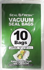 """10 Seal N Fresh Vacuum Seal Bags Large Approx 12"""" x 12"""" Fresh and Flavorful Food"""