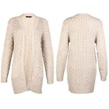 Womens Ladies Cable Knitted Oversized Long 2 Pocket Boyfriend Open Cardigan
