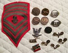 Vintage Lot of Misc. Military Patch Buttons and Pinback