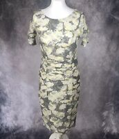 Marks & Spencer Light Grey & Yellow Netted Floral Fitted Dress Bodycon UK 10