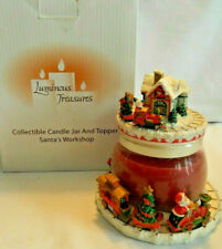 Luminous Treasures Collectible Santa'S Workshop Train Candle Jar & Topper