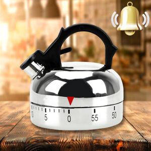 Stainless Steel Kitchen Cooking Countdown 60 Minute Mechanical Alarm Timer