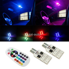2x RGB Colorful Remote Control 194 168 LED Map Dome Interior light bulb w5w C7
