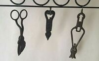 Signed Lot of 3~Antique~Hand Forged/Wrought or Cast Iron Tools & Scissors+ Rack