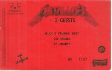RARE / TICKET BILLET DE CONCERT - METALLICA : LIVE A PARIS ( FRANCE ) 1987