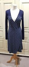 French Connection UK 12 Patterned Stretch Dress Navy Blue Faux Wrap Smart Work