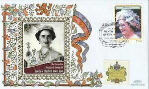 GUYANA 2012 QUEEN MOTHER 10th ANNIVERSARY OF HER DEATH BENHAM COVER JEWELS