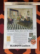 Vintage 1925 BLABON'S Linoleum Flooring Print Ad Hawaiian Pineapple Ad