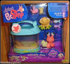 Littlest Pet Shop Portable Pets Gift Set #928 Frog #929 Hermit Crab NIP