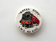 VINTAGE ROYAL SCOT L.M.S. NO.6100 STEAM RAILWAY TRAIN METAL PIN BADGE BUTTON