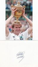 STEFAN EDBERG-TENNIS-GRAND SLAM WINNER- SIGNED CARD + PHOTO-AFTAL/UACC RD316