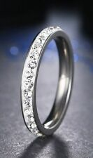Platinum/Steel Alloy .96 Carat Simulated Moissanite Wedding Band Size 11+1/4