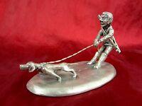 alte Zinnfigur Jäger mit Hund Michel Laude signiert France Etain 95,5% Zinn