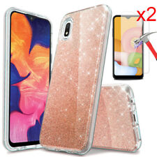 For Samsung Galaxy A01 Case Glitter Bling Shockproof Slim Cover Screen Protector