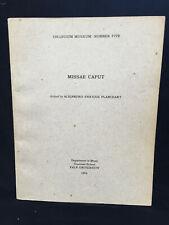 PLANCHART Missae Caput (Dufay, Ockeghem)  - VOCAL SCORE - YALE (1964) - SIGNED