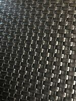 """SMALL BASKET WEAVE Tile Vinyl Upholstery Faux Leather Fabric/Black 54"""" ROLLED"""