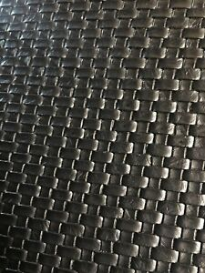 """FOLDED SMALL BASKET WEAVE Tile Vinyl Upholstery Faux Leather Fabric/Black 54"""""""