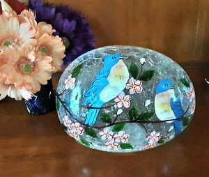 Crackled Glass Blue Bird LED Lighted Floral Egg-shaped Lamp Tabletop Centerpiece