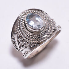 925 Sterling Silver Ring Size UK N, Natural Blue Topaz Gemstone Jewelry CR3309