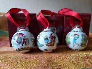 3 Hutschenreuther Mini-Weihnachtskugeln (Mützen, Strümpfe, Handschuhe)