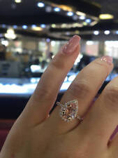 Delicated 1.50Ct Pear Cut Morganite Halo Engagement Ring 18K Rose Gold Over