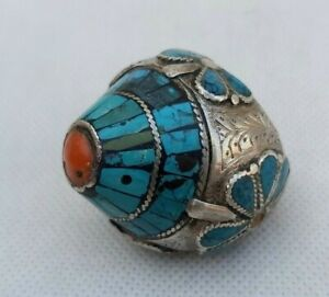 Vintage Turquoise Natural With Coral Sterling Silver Men Shia Sufi Islamic Ring